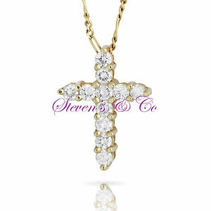 Diamond Cross Necklace 14kt Yellow Gold 1.00ct 18'' Chain