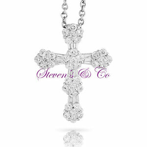 Diamond Cross Necklace 14kt White Gold 1.35ct 16'' Chain