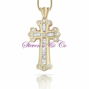 Diamond Cross Necklace 14kt Yellow Gold .25ct 18'' Chain