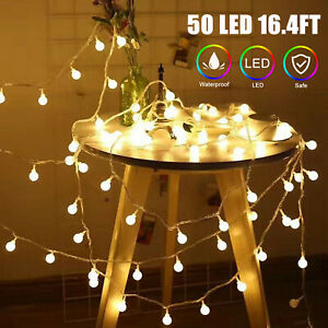 50 LED Ball String Fairy Lights Battery Operated Christmas Wedding Party Decor