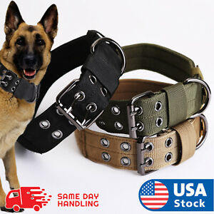 Tactical heavy duty Nylon large Dog Collar collar K9 Military with Metal Buckle $12.58