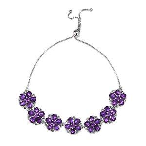Adjustable Bolo Bracelet 925 Sterling Silver Amethyst Jewelry for Women Ct 12.4