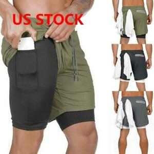 2 in 1 Men's Sport Short Quick Dry Fit Running Security Pockets Phone Pants USA