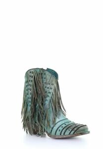 Corral Womens Western turquoise fringes studs ankle boot r toe Z0074 $295.00