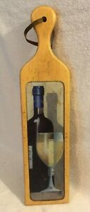 Baguette Cutting Board Wine Bottle/Glass Display W/Glass Surface - 2002
