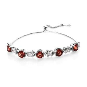 Adjustable Bolo Bracelet 925 Sterling Silver Red Andesine Zircon Jewelry Ct 7.3