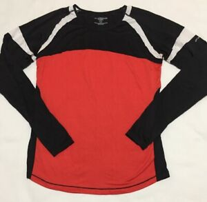 Brooks Running Equilibrium Womens XL Long Sleeve Shirt Black White Red