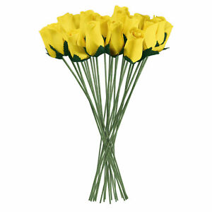 Yellow Realistic Wooden Roses 32 Count
