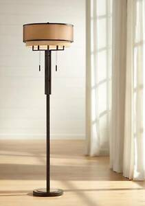 Modern Floor Lamp Industrial Bronze Metal Double Shade for Living Room Reading