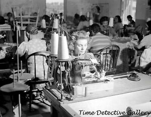 Woman Sewing on a Singer Machine in Dress Factory 1941 Vintage Photo Print $10.00