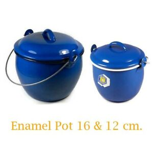 Vintage Enamel Coffee Soup Pot Lid Camping Gear Cooking Set Enamelware 12