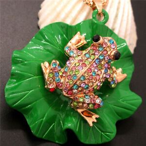 New Betsey Johnson Multicolor Crystal Cute Frog Lotus Leaf Necklace Chain