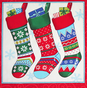 Christmas Ho Ho Ho Stockings panel fabric square quilting quilt block gifts $4.95