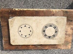 Litho Lithographic Antique Printing Stone John E. Hand Philadelphia Ship Compass