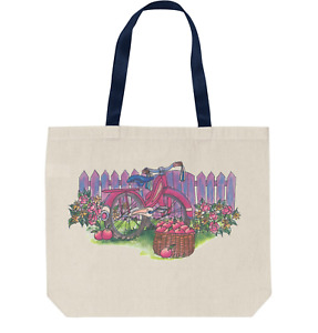 Tote Bag Reusable Shopping Cotton Anique Classic Bicycle Picket Fence Flowers