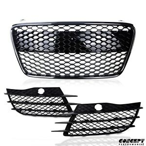 Fit for 07-12 42Car Glossy Black Grille wMatte Black Fog Vents Grill Insert