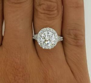 4 Carat Halo Round Cut Diamond Engagement Ring SI1D White Gold 14k
