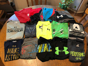 Lot 14 Boy's Youth  UNDER ARMOUR NIKE Dri-Fit Shirts 2 Ls Athletic 3 Shorts Polo