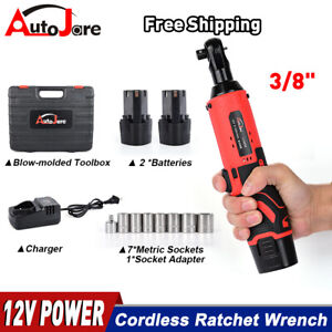 12V 3 8quot; Cordless Electric Ratchet Socket impact Wrench Right Angle Battery 60Nm $43.90