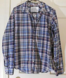 FRANK EILEEN Cotton Blue Plaid Chest Pocket Barry Button Shirt Womens LARGE $29.99
