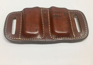 RARE FOBUS BROWN LEATHER DOUBLE STACK BELT DOUBLE MAGAZINE POUCH 3902