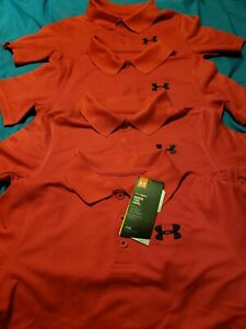 Under Armour Boy's LOT Golf Red Polo Shirts Youth Large YLG School Uniform
