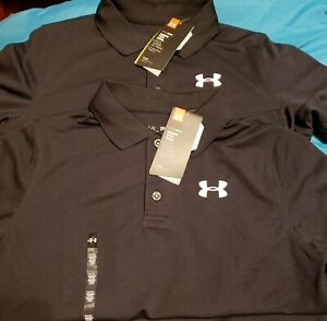 Under Armour Boy's LOT Golf Black Polo Shirts Youth X-Large XLG School Uniform
