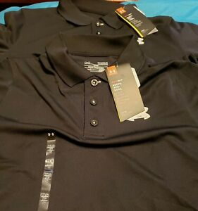 Under Armour Boy's LOT Golf Black Polo Shirts Youth Large YLG School Uniform