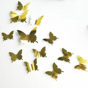 12 Pcs 3D Butterfly Gold Mirror Wall Stickers Fridge for Home Decoration New