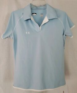 NWT Under Armour Clubhouse Golf Polo Shirt Women's Size Medium Blue White