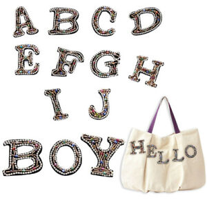 Colors Sew On Clothing Accessories English Alphabet Rhinestone Patches Hotfix