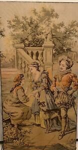 "Antique Large French Tapestry Victorian Garden Scene 50 X 26"" $240.00"