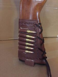 Fit 30 30 Win Tanned Leather Bullet Cartridge Rifle Stock Buttstock Cover Holder