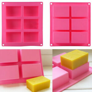 6-Cavity Rectangle Soap Mold Silicone Mould Tray For Homemade DIY Making Supply