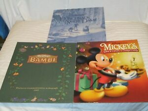 RARE Disney Store EXCLUSIVE Commemorative Lithographs BAMBI  HUNCHBACK ONCE UPON