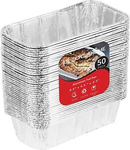 Stock Your Home 8x4 Aluminum Loaf Pans 50 Pack 2 lb Bread Tins