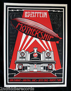 LED ZEPPELIN-SHEPARD FAIREY-MOTHERSHIP Rare Limited Edition #400400 Signed-OBEY