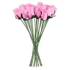Pink Realistic Wooden Roses 32 Count