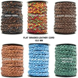 Xsotica® Flat Braided Leather Cord 10mm 1 Yard $2.35