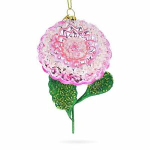 Pink Flower with Colorful Beads Glass Christmas Ornament
