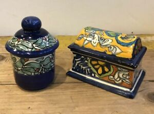 Set Of 2 TALAVERA MEXICAN POTTERY Rectangle Round Treasure Trinket Box Lid Boxes