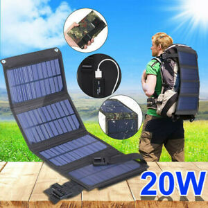 20W USB Solar Panel Folding Power Bank Outdoor Camping Hiking Battery Charger