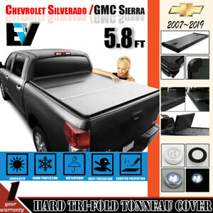 FITs 07-18 Chevy Silverado 1500 5.8Ft Solid Bed Hard Tri-Fold Cover  Tonneau