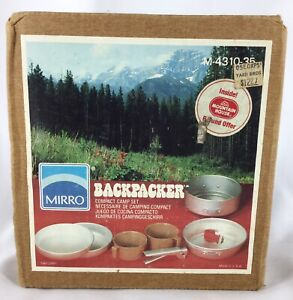 Vintage MIRRO Backpacker 8 Piece Camping Skillet Cook Ware Set NOS 190715PGETWD