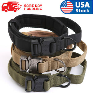 Tactical Military K9 Dog Training Collar with Metal Buckle for L Dog Heavy Duty $14.98