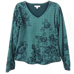 Coldwater Creek Women's Long Sleeve Pullover Top Size M Green Blue Polyester