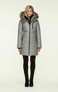 Soia & Kyo Christy-FX Slim Fit Brushed Grey Down Coat Hood Silver Fox Fur M $685