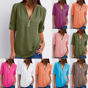 Women Ladies Zipper Button 34 Sleeves Blouse Loose Chiffon Shirt Clothing Top