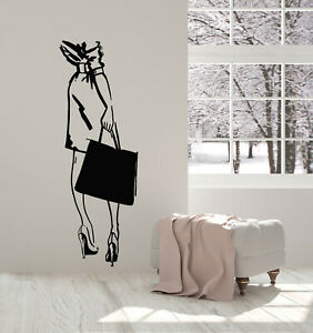 Vinyl Wall Decal Sale Fashion Style Shopping Girl Bag Shopstore Stickers (g1311)