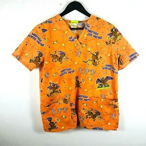 Scooby Doo Halloween nursing scrub top orange small trick-or-treat candy